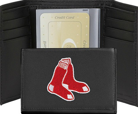 Boston Red Sox Embroidered Leather Tri Fold Wallet
