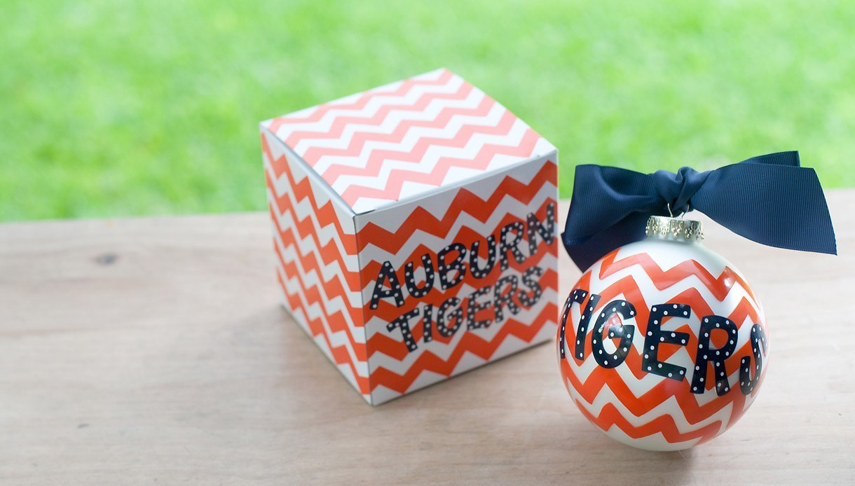 Auburn Tigers Christmas Ornament Coton Colors Chevron