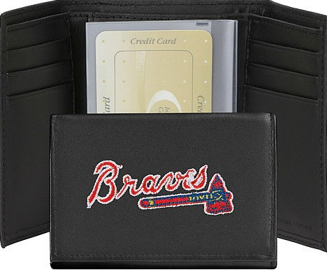 Atlanta Braves Embroidered Leather Tri Fold Wallet