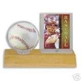 Wood Baseball and Card Display Case